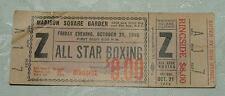 Madison Square Garden BOXING Unused Ticket Oct 21 1955 Gil Turner Isaac Logart