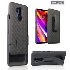 For LG G7 ThinQ Slim Shockproof Armor Shell Phone Cover Holster Combo Case Black