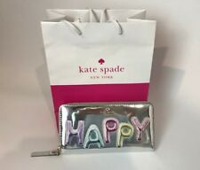NWT Kate Spade HAPPY LACEY Silver iridescent clutch wallet and gift bag rrp$329