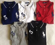 $99 NWT Mens Polo Ralph Lauren Big Pony 3 Short Sleeve Mesh Rugby Polo Shirt Red
