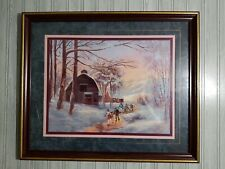 Vtg Home Interiors Winter Barn Children River Snow Mountains Woods Picture