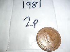 two new pence coin year 1981 - coin collector coin hunt rare 2p