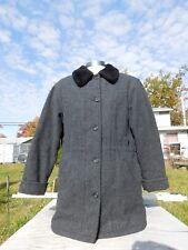 Vintage Women's Woolrich Gray Fur Collared Button & Zip Coat Size XL