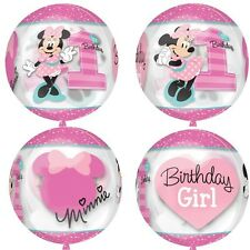 "Minnie Mouse 1st Birthday Girl 16"" Orbz Disney Amscan Licensed 4-sided Balloon"