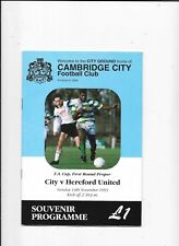 Cambridge City v Hereford United FA Cup 1st Round 14/11/1993