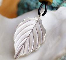 Modern Silber Kettenanhänger Floral Blatt Baum Gewölbt  Handarbeit Schlicht