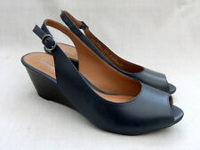 NEW CLARKS BRIELLE APRIL WOMENS NAVY BLUE LEATHER WEDGE SANDALS