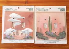 2 Hand Painted Southwestern Ceramic Light Switch Plates Covers Double Toggle NEW