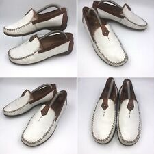 🌟Gabor Comfort White & Tan Leather Pumps Moccasins Shoes Size 4 37 G Fit Womens