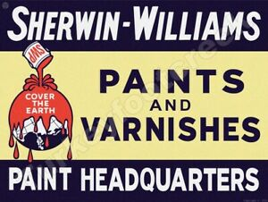 """SHERWIN-WILLIAMS PAINTS AND VARNISHES 9"""" x 12"""" METAL SIGN"""