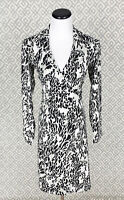 Womens Express Wrap Dress Long Sleeve Black White Leopard Print Dress Size 3/4