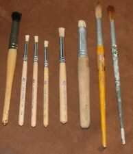 lot of 8 artist brushes, supplies for crafting painting ~stipple, stencil, round