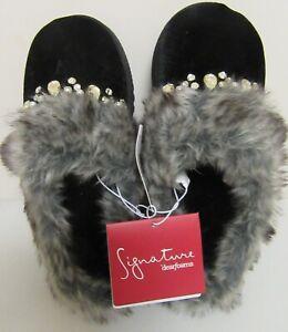 Dearfoams Signature Women's Slippers Size Small 5-6 Black Jeweled Slip On Clog
