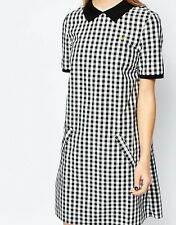 £120 Fred Perry checked gingham polo neck zip back Dress UK size 10