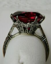 6ct *Red Ruby* Solid Sterling Silver Edwardian 1910 Etch Filigree Ring Size 10