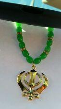 chapado en oro panyabí Sij Khanda Colgante Coche Trasero Espejo Verde cuentas