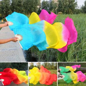 New Women Tie-dyed Belly Dance Fan Veils Long Silk Bamboo Fan Hand Made Craft