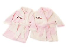 Personalised Embroidered Front & Back Baby Girl's Bath Robe Dressing Gown Pink