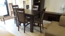 DINING SET Extending Dining Table and 4 Chairs in Dark Wood Strong & Solid Kam02