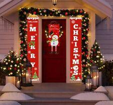 Porch Sign Christmas Banner Hanging Drop Ornament Door Home Outdoor Decoration