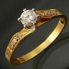 18k Solid Yellow GOLD Good Quality DIAMOND SOLITAIRE RING Val=$2825 Mid Sz M1/2