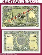 ITALIA, ITALY 50 LIRE ITALIA ELMATA DI CRISTINA SPECIMEN 1951 R5,  P 91b FDS/UNC