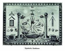 RARE Masonic Symbolic Emblems art print poster ring 12x18 chart Freemasons