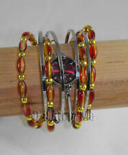 NEW WOMENS LADIES RED BANGLE BRACELET FASHION WATCH X1