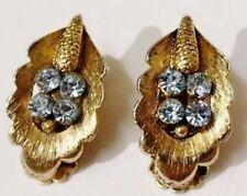 boucles d'oreilles clips bijou vintage feuille couleur or cristaux topaze 2011