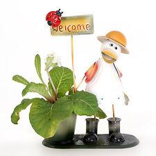 Anatra IN GIALLO CAPPELLO fiore pianta titolare Giardino Animale fioriere con segno positivo