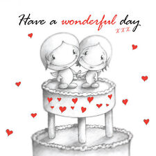 Wedding Day Cake Card romantic happy Cupids couple cute red love hearts b&w