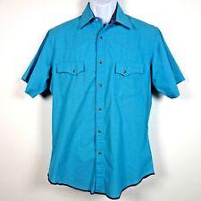 Wrangler Wrancher Turquoise Blue S/S Pearl Snap Western Shirt Men's Medium