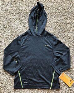 Boys Black Onyx 3/4 Sleeve Champion Hooded Top XS 4/5