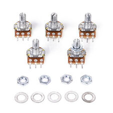 5x B10K Ohm Linear Taper Rotary Potentiometer Panel Pot 15mm Shaft Nut Washers