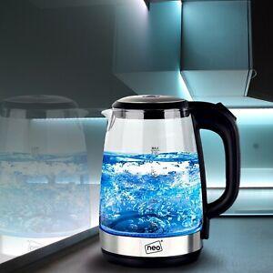 Neo Glass Blue LED Illuminated Electric Kettle Jug 2L Cordless Portable Design