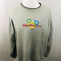 Walt Disney World Sweatshirt XL Gray Vintage Mickey Mouse Ears Embroidered