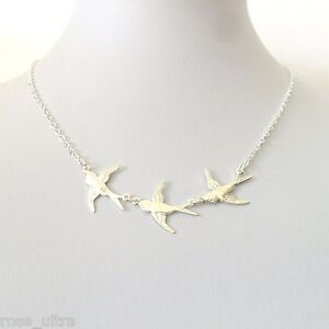 Silver Plated Swallow Necklace, Statement Pearl Bird, Vintage Multi Style Pin-up