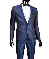 Slim Fit Herrenanzug Carbone glanz in Blau -Smoking-Anzug-Hochzeit-Bühne-Sakko