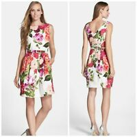 Eliza J White Floral Belted Jacquard Midi Tulip Dress Women's 14