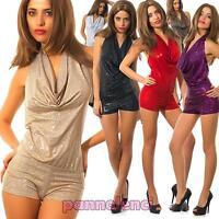 Miniabito overall pantaloncino tuta metallizzata lurex donna nuovo CC-748