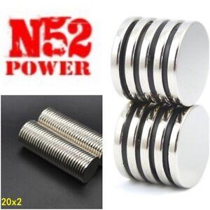 20mm x 2mm Raro Terra Grande Disco Rotondo Utilità Magnete N52 Grado