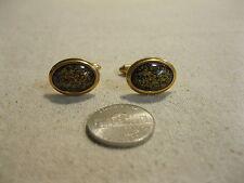 Gold Plated Oval Gold Flecked Glass Cufflinks Krementz           BG3