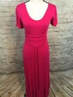 NEW Liz Lange Hot Pink Ruffle Short Sleeve Maxi Dress C1333