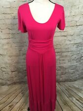 NEW Liz Lange Hot Pink Ruffle Short Sleeve Maxi Dress C1333