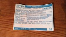 1988 Toyota Pickup Truck/4runner Emissions Decal Repro Sticker Cal 22re #E4