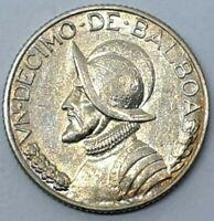 Panama 1934 1/10 Balboa Vasco Núñez High Relief KM#10.1 Silver 0.900 Coin