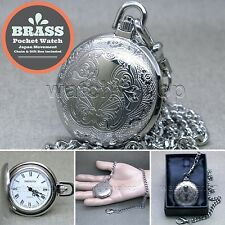 SILVER Quartz Pocket Watch Brass Case Antique Men Fashion Chain Gift Box P274