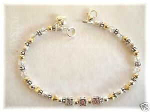 MOM MOTHERS DAY BRACELET BEADED made with SWAROVSKI CRYSTAL, ST SILVER, GOLDFILL