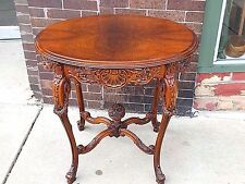 Rare Antique French Provincial Ornate wood carved oval accent Parlor table