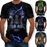Animal 3D Print Mens Womens Summer Casual Funny T Shirt Short Sleeve Graphic Tee